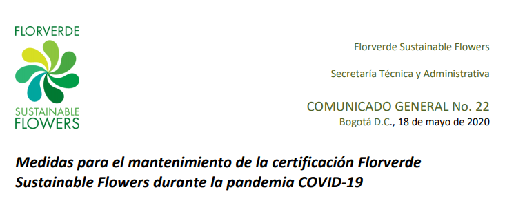 Measures to maintain the Florverde Sustainable Flowers certification during the COVID-19